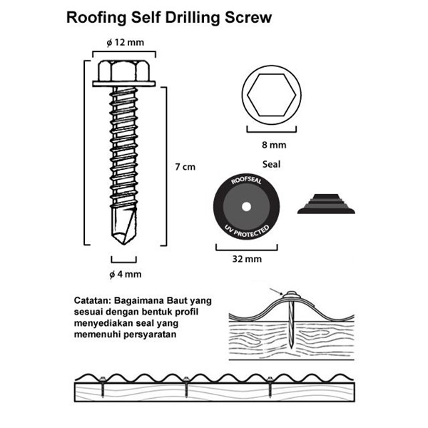 Roofing Self Drilling Screw (12 x 70)