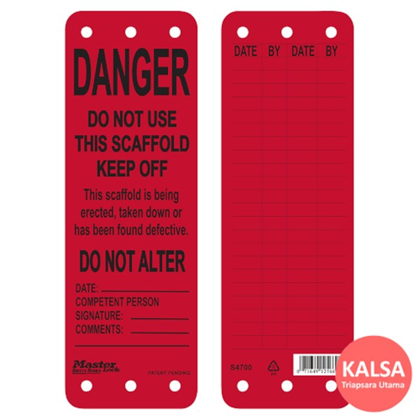 Master Lock S4700 Scaffolding Tags Safety Tag