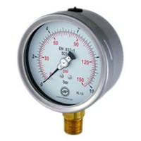 Pressure Gauge Stainless Case Bottom Connection