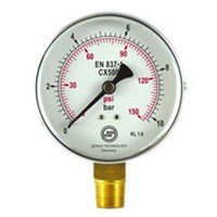 Pressure Gauge Black Steel Case Bottom Connection