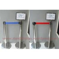 Distributor Tiang Display Stainless Poster Stand Floor Standing Sign Tiang Display Informasi Frame Acrylic 3