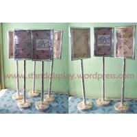 Jual Tiang Display Stainless Poster Stand Floor Standing Sign Tiang Display Informasi Frame Acrylic 2