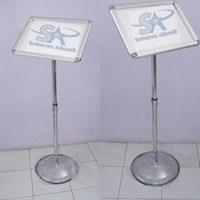 Tiang Display Stainless Poster Stand Floor Standing Sign Tiang Display Informasi Frame Acrylic Murah 5