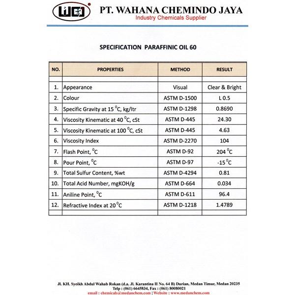 Parafin Oil 60 Medan (Paraffinic Oil 60)