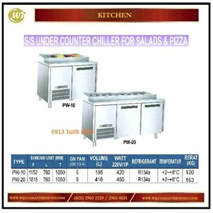 Dari Lemari Pendingin Untuk Salad  & Pizza / SS Under Counter Chiller For Salads & Pizza PW-10 / PW-20 Mesin Makanan dan Minuman Cepat Saji 0