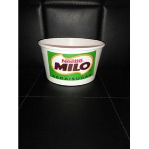 Dari paper bowl atau mangkok kertas 650ml ( 22oz ) tanpa tutup termasuk stiker milo kepal 0